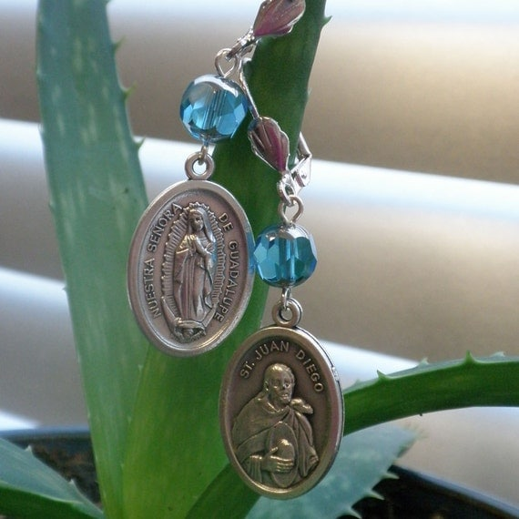 Nuestra Senora Virgen de Guadalupe medallion earrings with light blue and silver Czech Glass Picasso beads