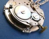 Steampunk Necklace - Industrial Urban Steampunk Silver Pendant with winder