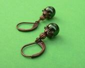Evergreen Pearl Berry Earrings - Nickel Free Copper Leverbacks