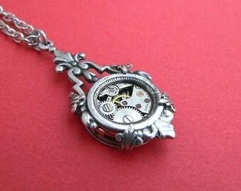 Steampunk Necklace - Edwardian Nouveau - Silver Steampunk Pendant