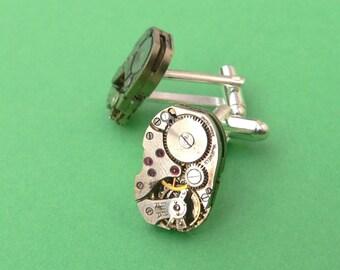 Steampunk Cuffllnks Vintage Watch Movement silver cuff links