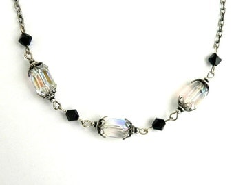 Crystal Necklace Aurora Borealis AB Glass Bead Silver Ox vintage style necklace