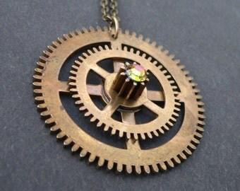 Brass Steampunk Necklace - vintage brass pendant cogs swarovski crystal