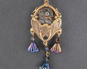 Brass Steampunk Pendant - Nightshade - Necklace Floral with Dark Bell Flowers and Swarovski