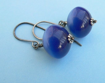 Midnight Moonglow Blue - Vintage Lucite Sterling Silver Earrings
