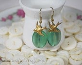 The Sweetest Green Seaglass and Sparrow Earrings FREE SHIPPING