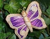 Purple Ikat with Scrolls Butterfly Plant Poke