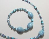 Necklace 22 inch Faux Agate polymer clay beads with glass and seed beads with silvertone accents