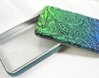 Sutton Slice Green to Blue Blend Polymer Clay Covered Tin HHD0006-14