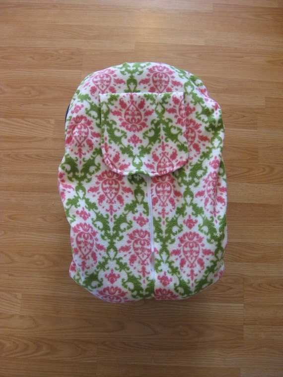 Pink and green damask fleece infant car seat cover