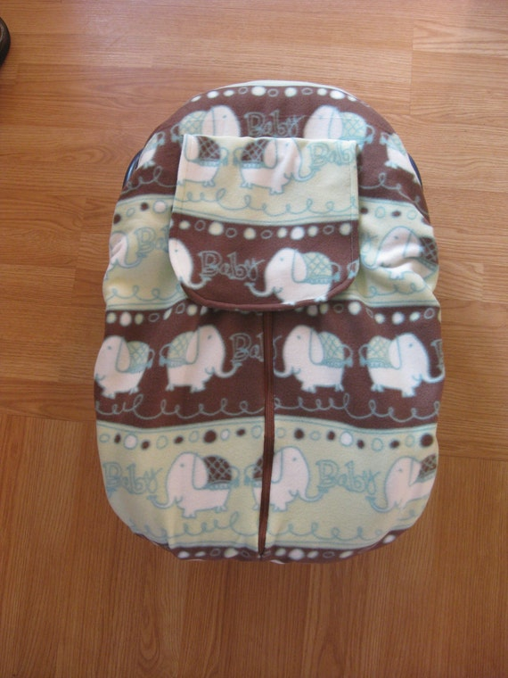 Elephant Fleece Infant Car Seat Cover