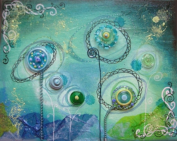 Growing Glass No 4 - Mixed Media ORINIGAL Art Collage - Lampwork