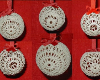 Crochet Christmas Ornament Pattern, Set of 6