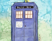 Police Box 5x7 Fine Art Print Blue and Green Background