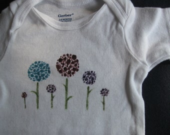 hand-painted onesie with flowers, size 3-6 mo.