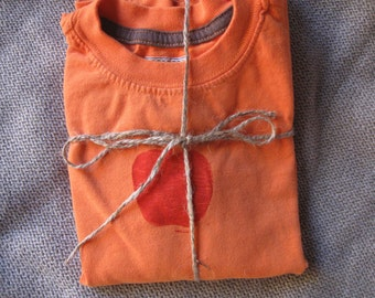long-sleeved orange tee with red apple 3T