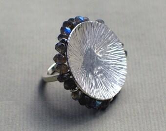 Lunar Eclipse Ring-Jingle (medium round) with labradorite halo