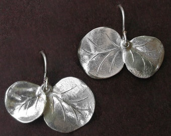 Eucalyptus leaf earrings-silver