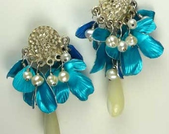 Blue Blossom Dahlia post earrings.