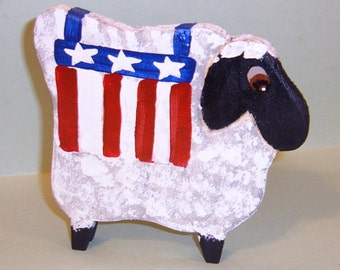 SHEEP - PRIMATIVE COLONIAL AMERICANA - CARVED WOOD