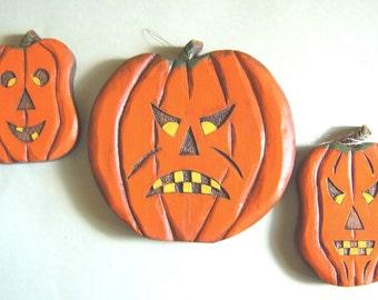 Jack O Lanterns, Set of 3, Hand Carved wood, Halloween