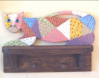 Cat Shelf, Hand Painted Wood, Quilted kitty
