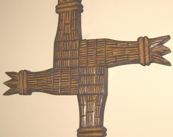 SAINT BRIDGETTES CROSS - HAND WOOD CARVING