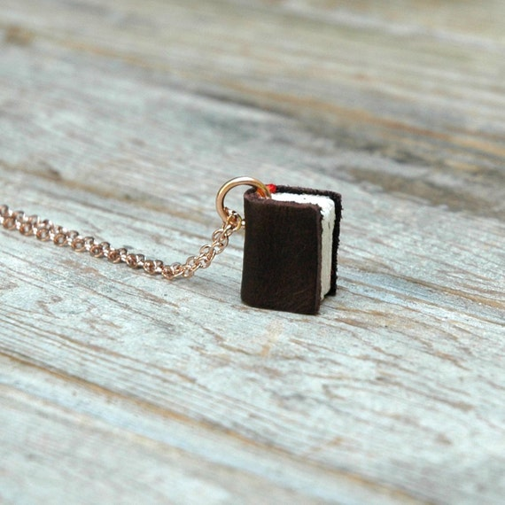 Rose Gold Chain - Brown Leather from the Scrap of an Israeli Cobbler - small book necklace
