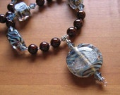 Chocolate Brown and Pale Blue Necklace with Handmade Boro Glass Pendant