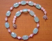 Ocean Waves Green and Sunset Pink Quartz Necklace