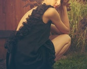 Coco Black Silk Chiffon and Lace Backless Dress with satin bow MADE TO ORDER