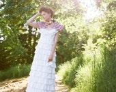 Wedding Dress Organic Cotton Anemone Dress. Custom Made to Order Wedding Gown with Layered Ruffles.