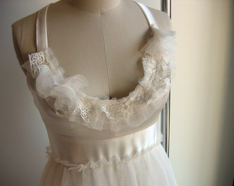 One of a Kind Modern Pearl Tulle and Silk Wedding Dress Gown with Vintage Detailing