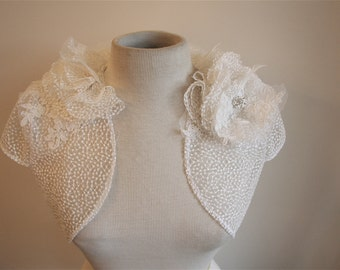 Delicate Dots Ivory Bridal Shrug size Made to Order