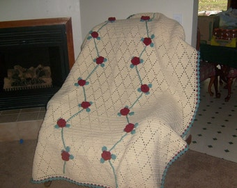 Rose Trellis Afghan/Blanket/Throw