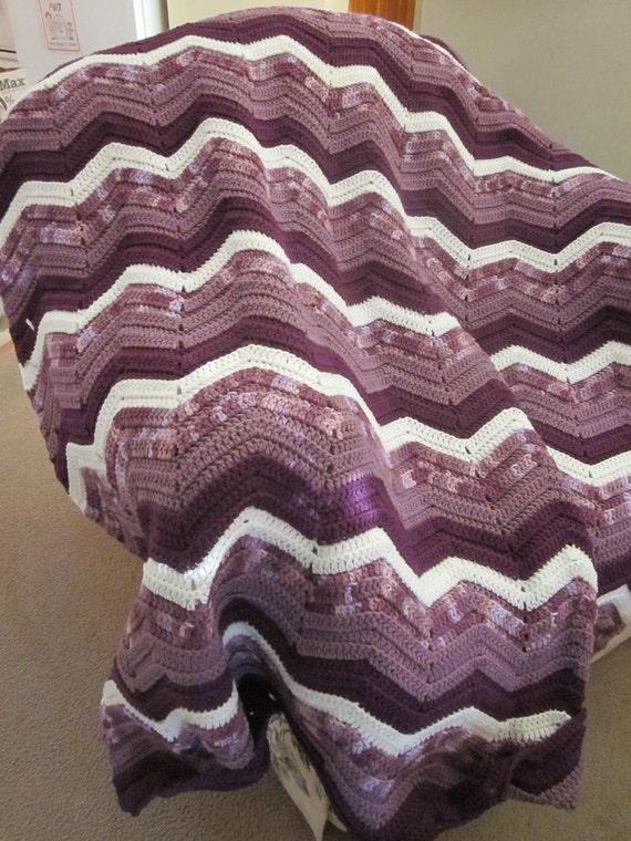Waves of Purples Ripple Design Afghan/Throw/Blanket