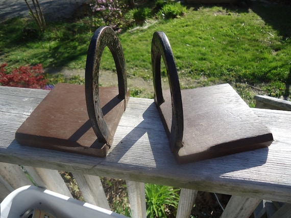 Horse Shoe Book Ends wood and iron