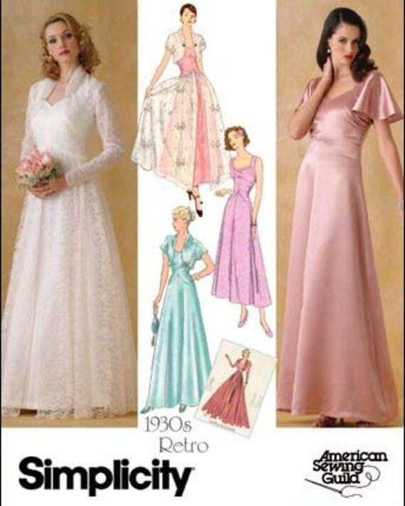 Plus Size Wedding Gown Patterns: 1930s Replica Plus Size Vintage Formal Or Bridal Dress Pattern