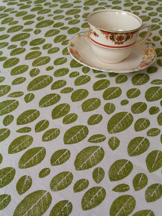 Blockprinted Fabric - Green Leaves