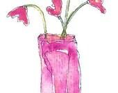 Original Mini Pink Floral Watercolor