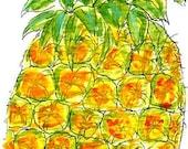 Original Pineapple Mini Watercolor Painting