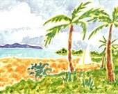 Original Maui Sailboat and Beach Watercolor