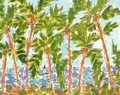Maui Palm Tree Grove Original Watercolor Painting