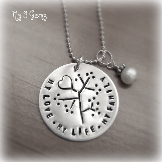 My Love, My Life, My Family Handstamped Necklace