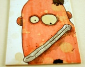 Orange monster, Original ACEO drawing by Aaron Butcher