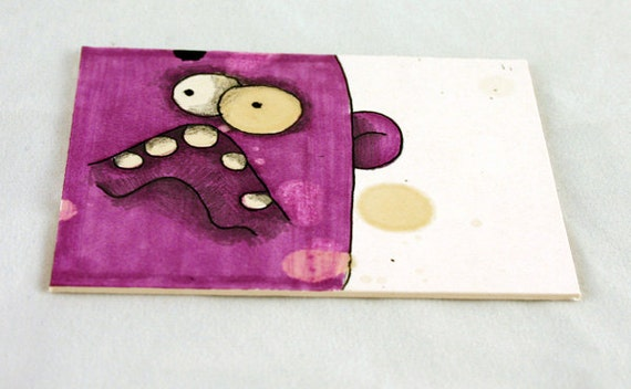 Purple Monster, Original ACEO Drawing by Aaron Butcher