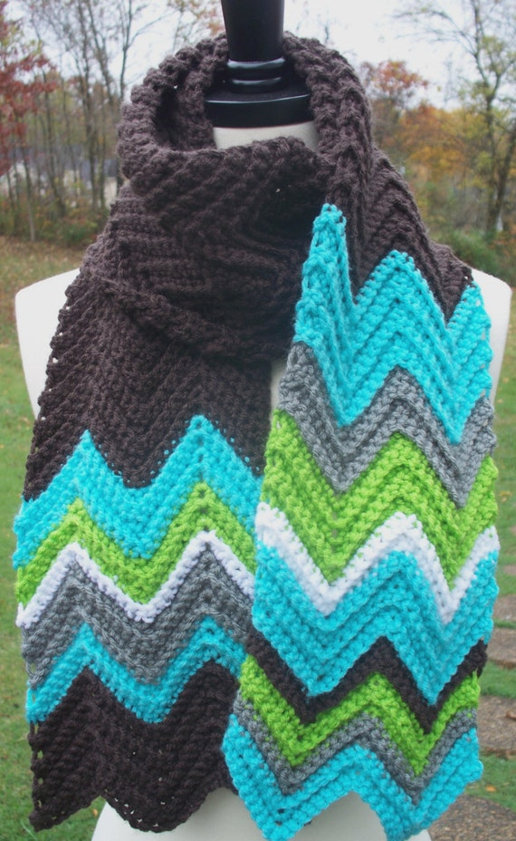 Crochet Scarf Chevron Missoni Inspired Zig Zag. by DreaminRedheads