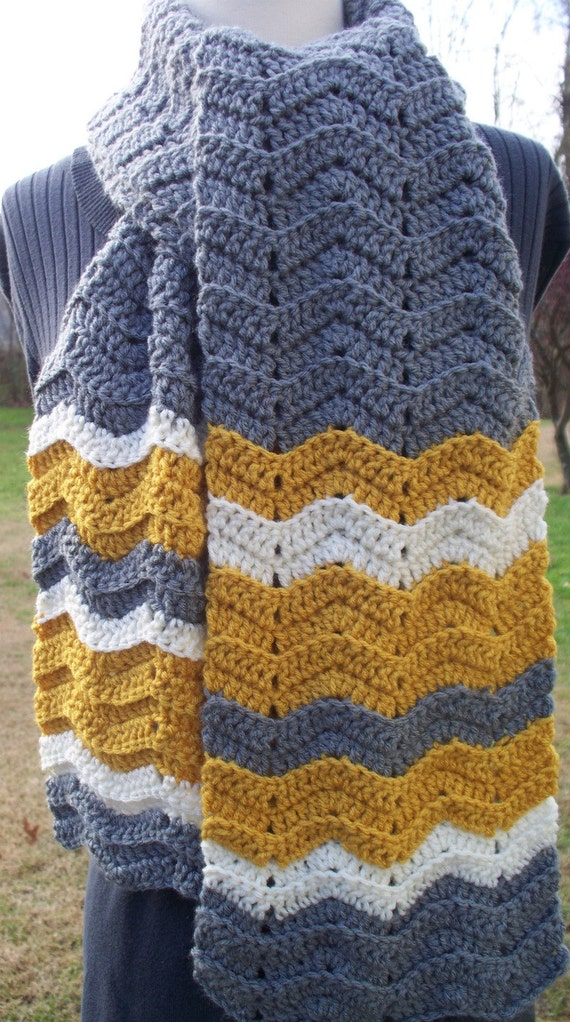 Crochet Scarf Chevron Ripple Yellow Gold Grey Ivory