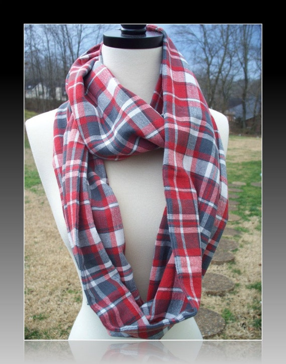 Plaid Infinity Scarf Lightweight Flannel Red Gray White