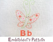 B Butterfly INSTANT DOWNLOAD PDF embroidery pattern